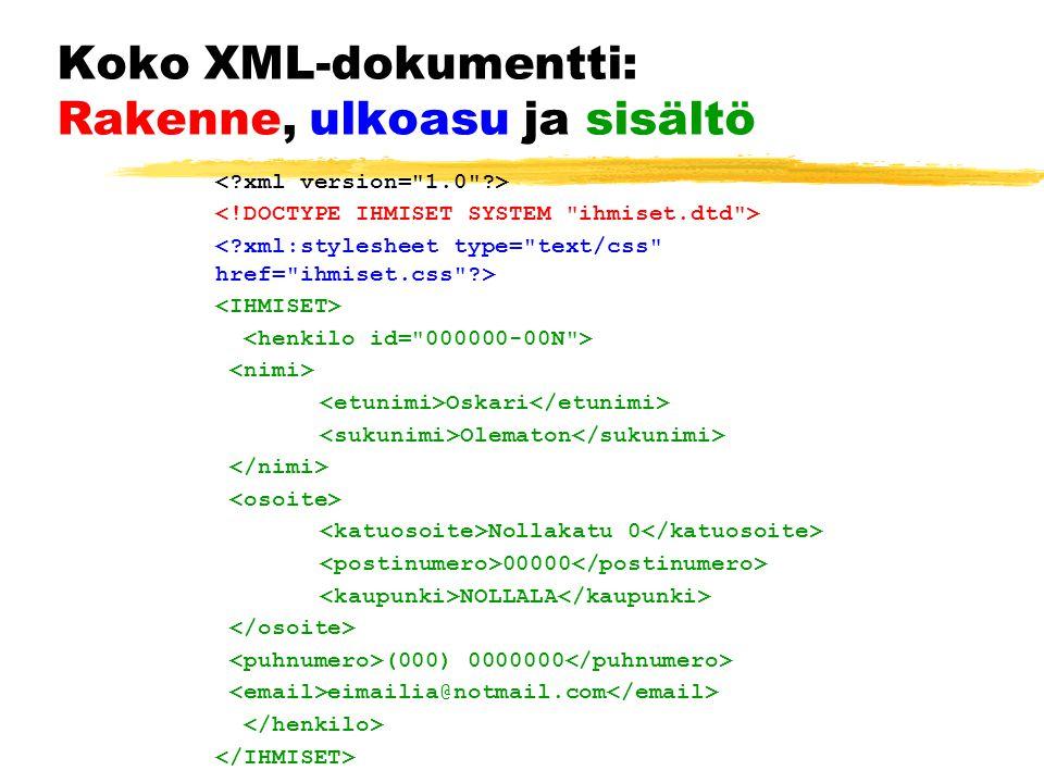 Koko XML-dokumentti: Rakenne, ulkoasu ja sisältö Oskari Olematon Nollakatu 0 00000 NOLLALA (000) 0000000 eimailia@notmail.com