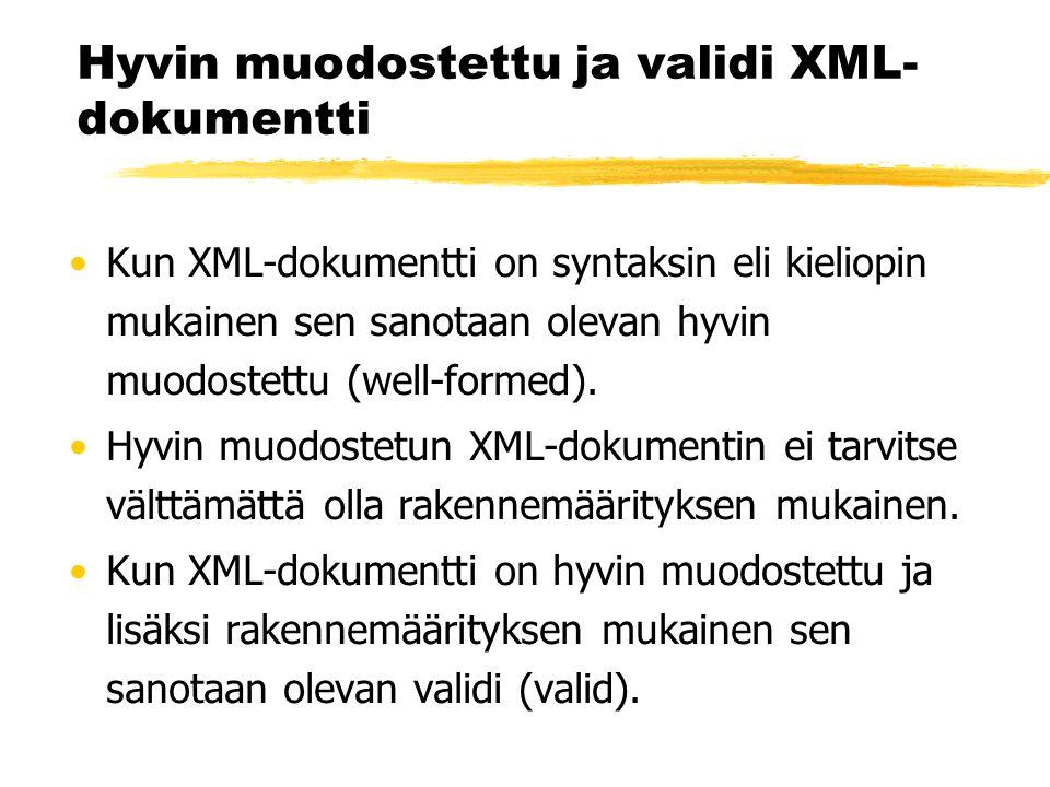 Hyvin muodostettu ja validi XML- dokumentti •Kun XML-dokumentti on syntaksin eli kieliopin mukainen sen sanotaan olevan hyvin muodostettu (well-formed).