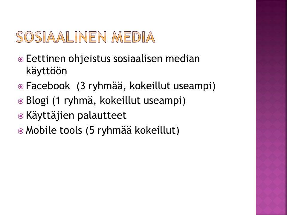  Eettinen ohjeistus sosiaalisen median käyttöön  Facebook (3 ryhmää, kokeillut useampi)  Blogi (1 ryhmä, kokeillut useampi)  Käyttäjien palautteet  Mobile tools (5 ryhmää kokeillut)
