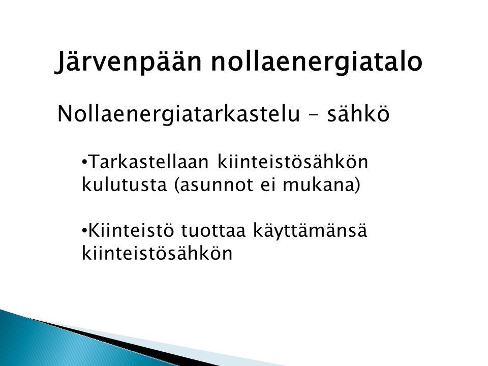 Järvenpään nollaenergiatalo Nollaenergiatarkastelu – sähkö • Tarkastellaan kiinteistösähkön kulutusta (asunnot ei mukana) • Kiinteistö tuottaa käyttämänsä kiinteistösähkön