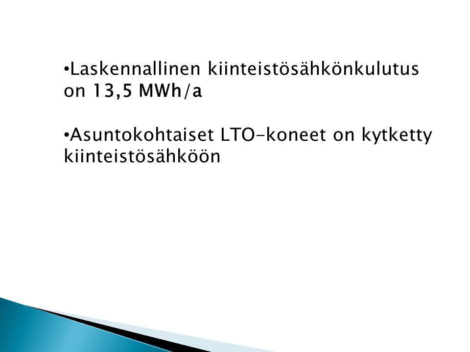 • Laskennallinen kiinteistösähkönkulutus on 13,5 MWh/a • Asuntokohtaiset LTO-koneet on kytketty kiinteistösähköön
