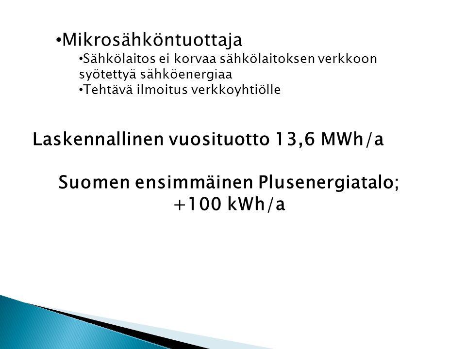 • Mikrosähköntuottaja • Sähkölaitos ei korvaa sähkölaitoksen verkkoon syötettyä sähköenergiaa • Tehtävä ilmoitus verkkoyhtiölle Laskennallinen vuosituotto 13,6 MWh/a Suomen ensimmäinen Plusenergiatalo; +100 kWh/a