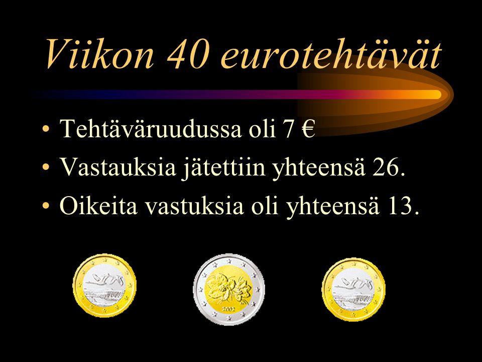 Viikon 40 eurotehtävät •Tehtäväruudussa oli 7 € •Vastauksia jätettiin yhteensä 26.