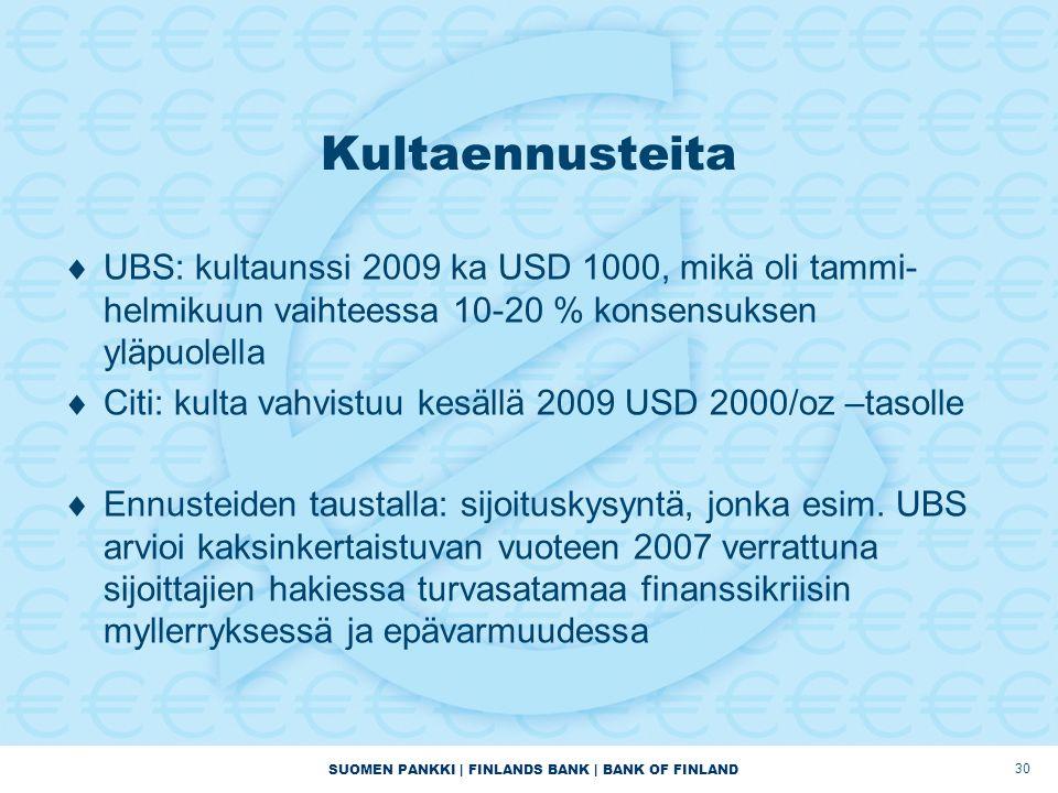 SUOMEN PANKKI | FINLANDS BANK | BANK OF FINLAND 30 Kultaennusteita  UBS: kultaunssi 2009 ka USD 1000, mikä oli tammi- helmikuun vaihteessa 10-20 % konsensuksen yläpuolella  Citi: kulta vahvistuu kesällä 2009 USD 2000/oz –tasolle  Ennusteiden taustalla: sijoituskysyntä, jonka esim.