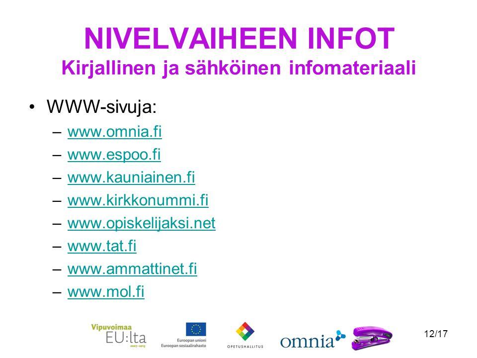 12/17 NIVELVAIHEEN INFOT Kirjallinen ja sähköinen infomateriaali WWW-sivuja: –www.omnia.fiwww.omnia.fi –www.espoo.fiwww.espoo.fi –www.kauniainen.fiwww.kauniainen.fi –www.kirkkonummi.fiwww.kirkkonummi.fi –www.opiskelijaksi.netwww.opiskelijaksi.net –www.tat.fiwww.tat.fi –www.ammattinet.fiwww.ammattinet.fi –www.mol.fiwww.mol.fi