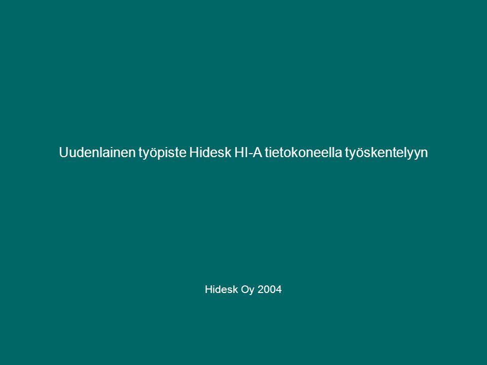 Uudenlainen työpiste Hidesk HI-A tietokoneella työskentelyyn Hidesk Oy 2004
