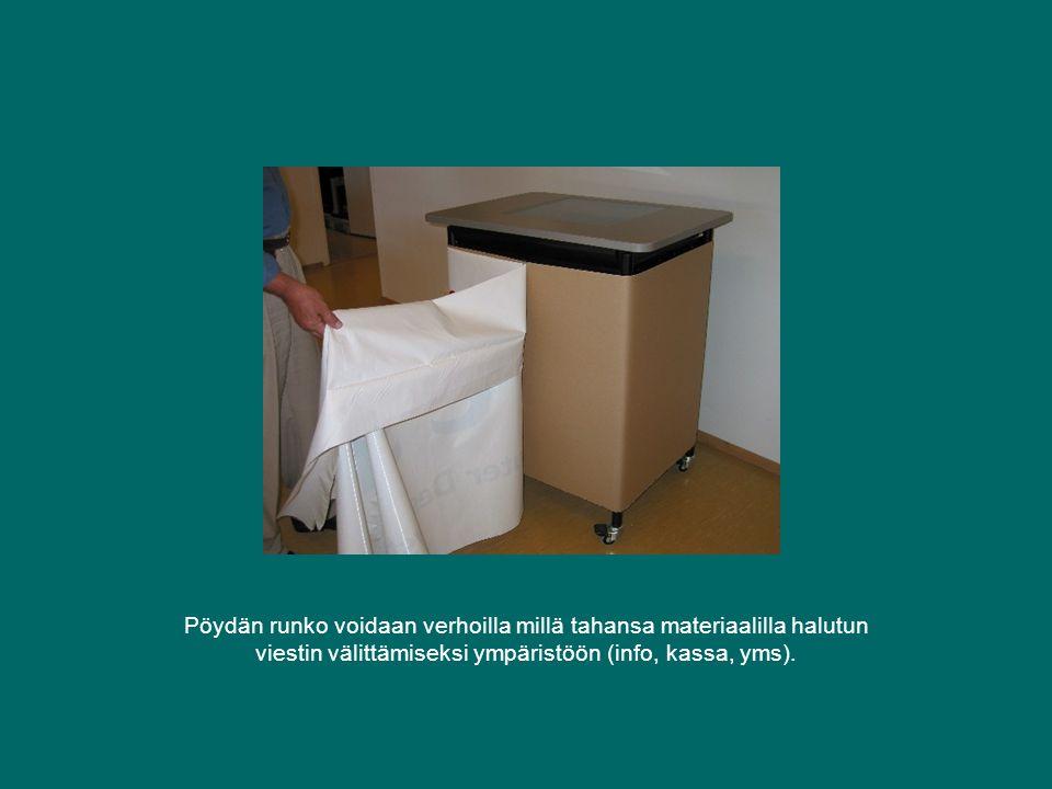 Pöydän runko voidaan verhoilla millä tahansa materiaalilla halutun viestin välittämiseksi ympäristöön (info, kassa, yms).