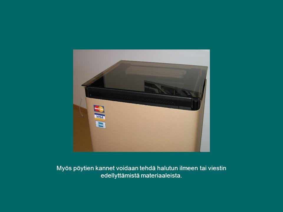 Myös pöytien kannet voidaan tehdä halutun ilmeen tai viestin edellyttämistä materiaaleista.