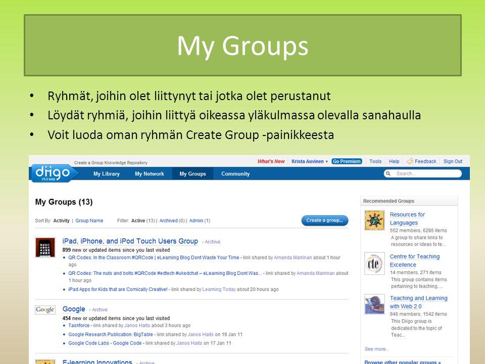 My Groups Ryhmät, joihin olet liittynyt tai jotka olet perustanut Löydät ryhmiä, joihin liittyä oikeassa yläkulmassa olevalla sanahaulla Voit luoda oman ryhmän Create Group -painikkeesta