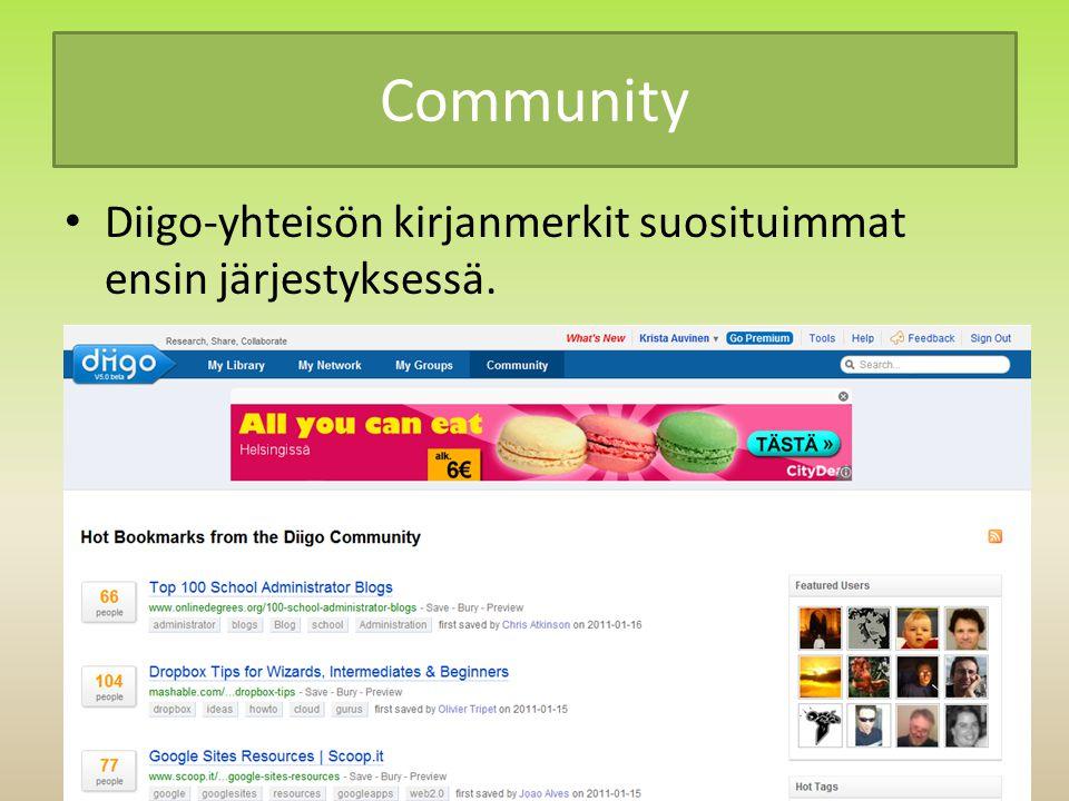 Community Diigo-yhteisön kirjanmerkit suosituimmat ensin järjestyksessä.