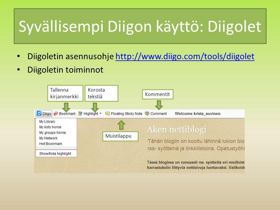 Syvällisempi Diigon käyttö: Diigolet Diigoletin asennusohje http://www.diigo.com/tools/diigolethttp://www.diigo.com/tools/diigolet Diigoletin toiminnot Tallenna kirjanmerkki Korosta tekstiä Muistilappu Kommentit