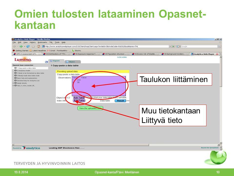19.8.2014 Opasnet-kanta/Päivi Meriläinen10 Omien tulosten lataaminen Opasnet- kantaan Taulukon liittäminen Muu tietokantaan Liittyvä tieto