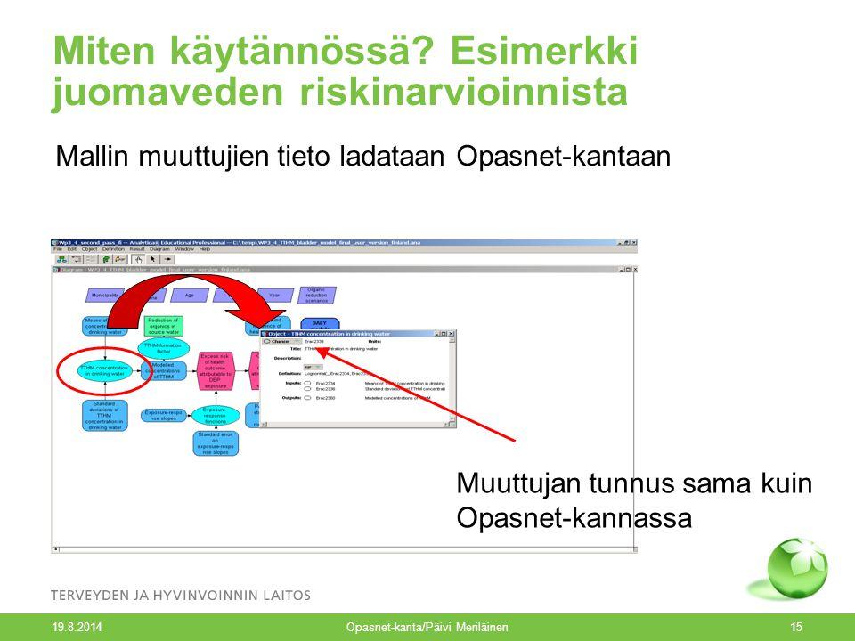 19.8.2014 Opasnet-kanta/Päivi Meriläinen15 Miten käytännössä.