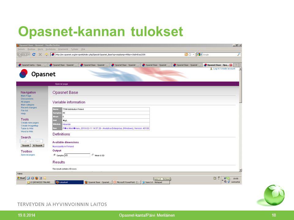 Opasnet-kannan tulokset 19.8.2014 Opasnet-kanta/Päivi Meriläinen18