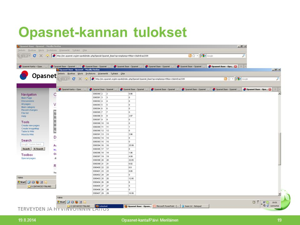 Opasnet-kannan tulokset 19.8.2014 Opasnet-kanta/Päivi Meriläinen19