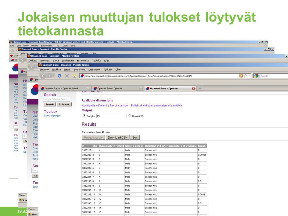 19.8.2014 Opasnet-kanta/Päivi Meriläinen23 Jokaisen muuttujan tulokset löytyvät tietokannasta