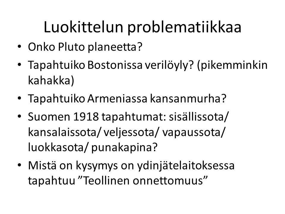 Luokittelun problematiikkaa Onko Pluto planeetta. Tapahtuiko Bostonissa verilöyly.