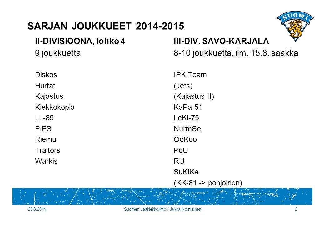 SARJAN JOUKKUEET 2014-2015 II-DIVISIOONA, lohko 4III-DIV.