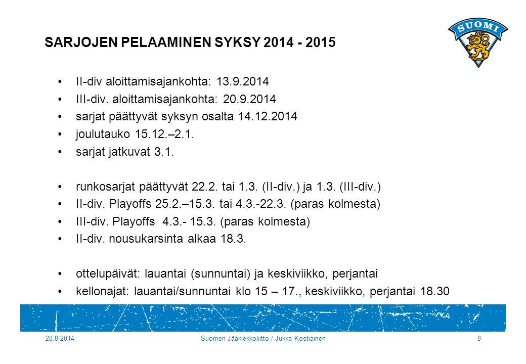 SARJOJEN PELAAMINEN SYKSY 2014 - 2015 II-div aloittamisajankohta: 13.9.2014 III-div.