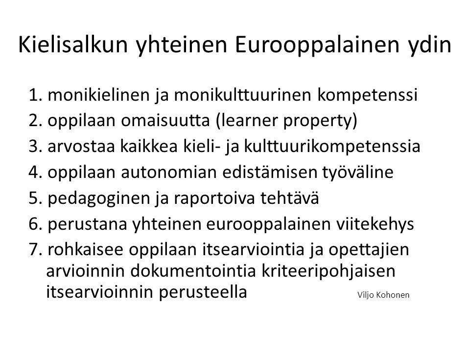 Kielisalkun yhteinen Eurooppalainen ydin 1. monikielinen ja monikulttuurinen kompetenssi 2.