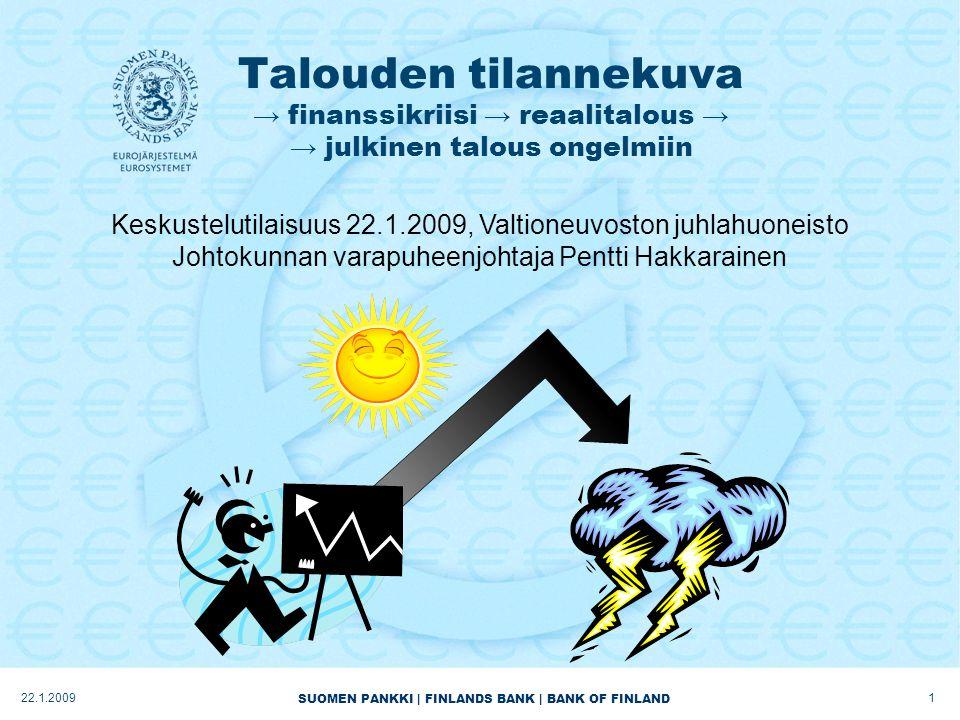 SUOMEN PANKKI | FINLANDS BANK | BANK OF FINLAND Talouden tilannekuva → finanssikriisi → reaalitalous → → julkinen talous ongelmiin 122.1.2009 Keskustelutilaisuus 22.1.2009, Valtioneuvoston juhlahuoneisto Johtokunnan varapuheenjohtaja Pentti Hakkarainen