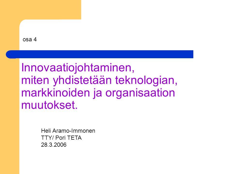 Innovaatiojohtaminen, miten yhdistetään teknologian, markkinoiden ja organisaation muutokset.