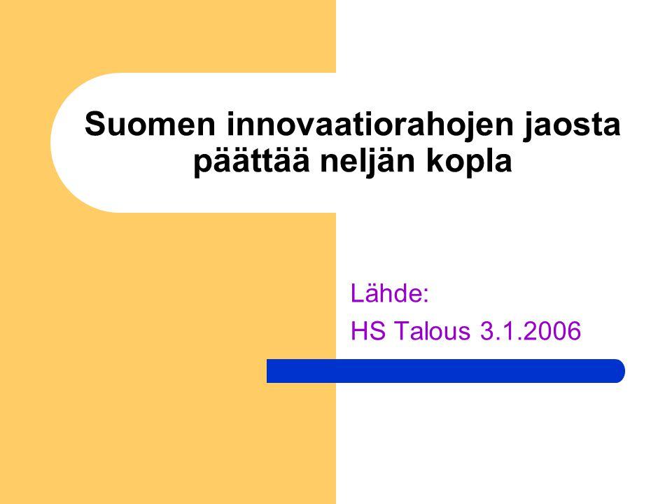 Suomen innovaatiorahojen jaosta päättää neljän kopla Lähde: HS Talous 3.1.2006