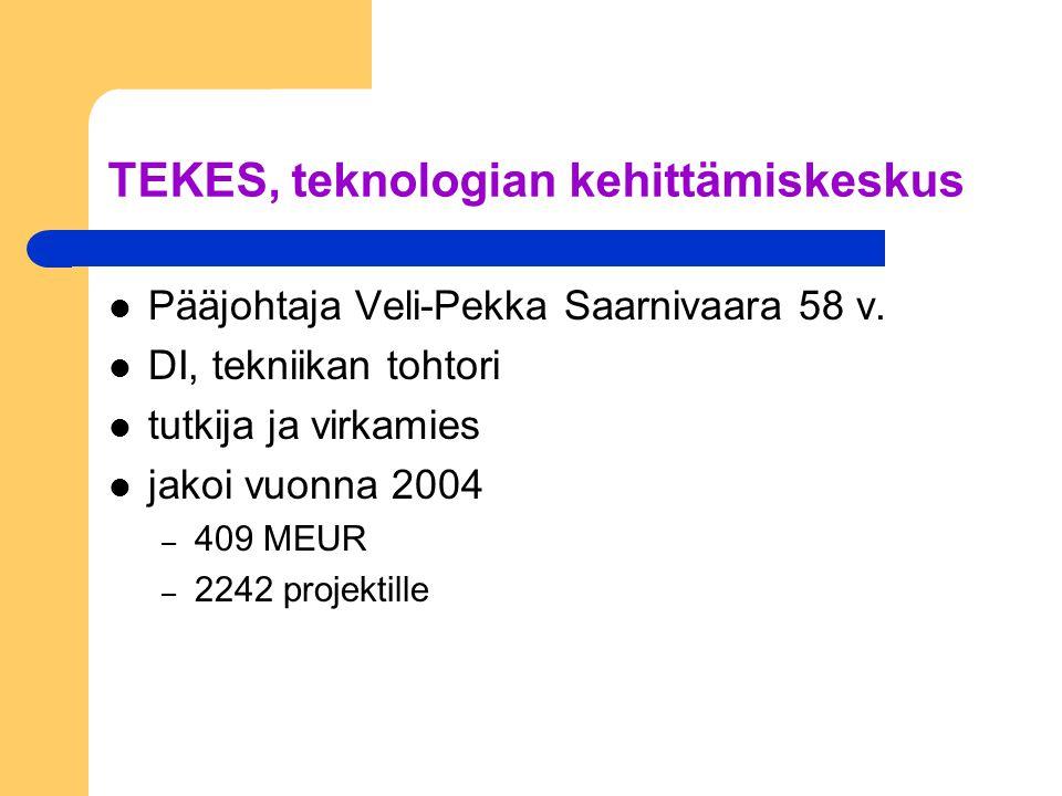 TEKES, teknologian kehittämiskeskus Pääjohtaja Veli-Pekka Saarnivaara 58 v.