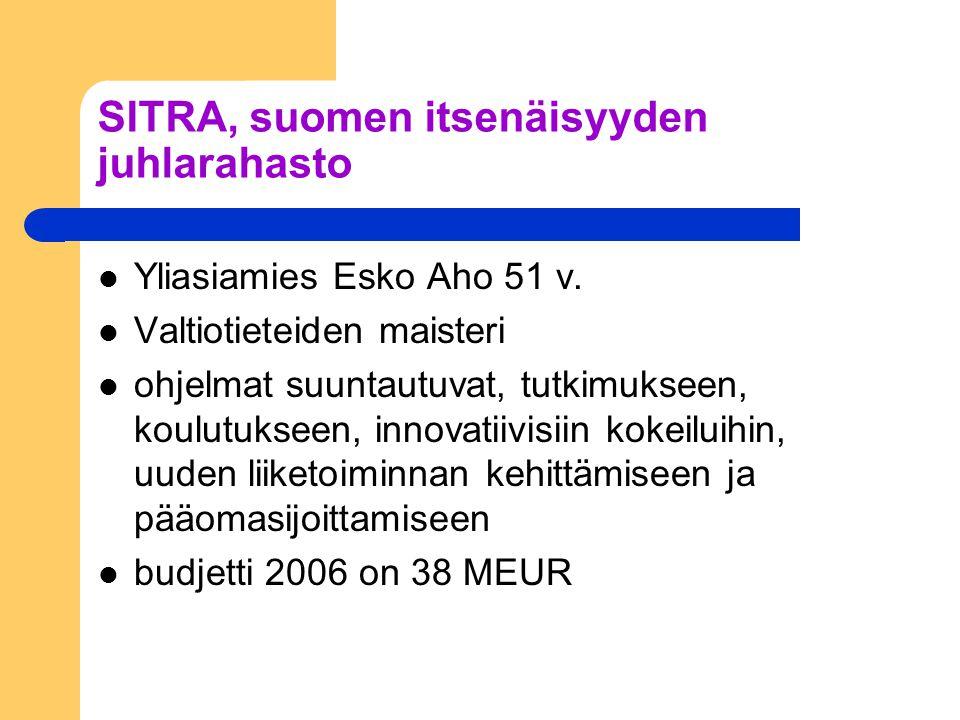 SITRA, suomen itsenäisyyden juhlarahasto Yliasiamies Esko Aho 51 v.