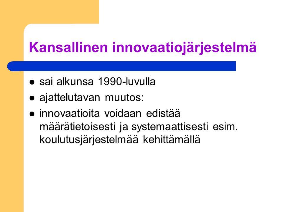Kansallinen innovaatiojärjestelmä sai alkunsa 1990-luvulla ajattelutavan muutos: innovaatioita voidaan edistää määrätietoisesti ja systemaattisesti esim.