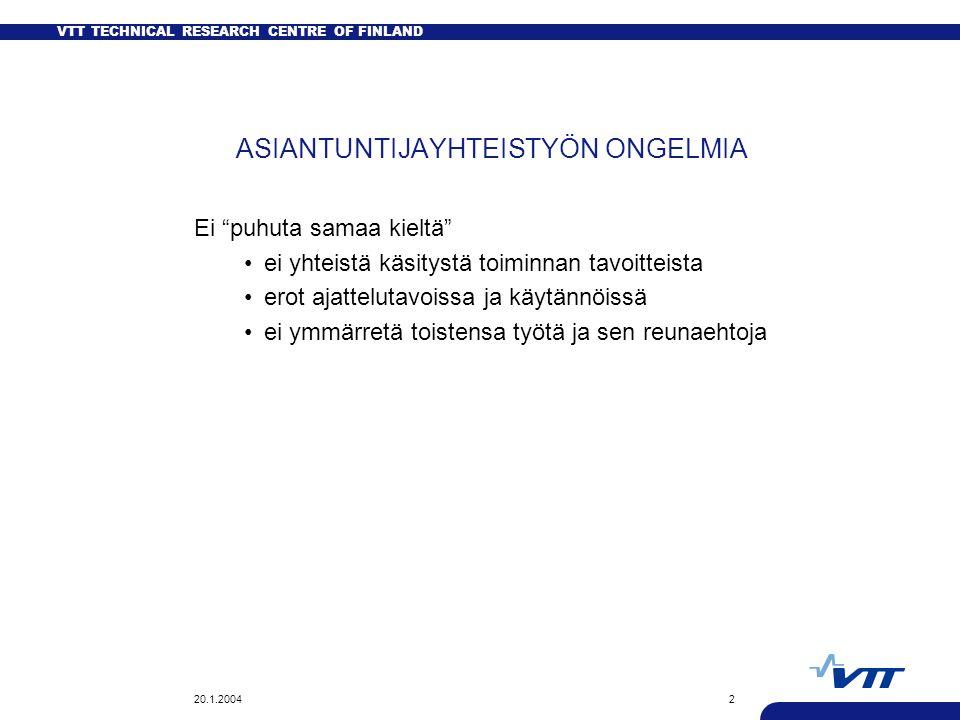 VTT TECHNICAL RESEARCH CENTRE OF FINLAND 20.1.20042 ASIANTUNTIJAYHTEISTYÖN ONGELMIA Ei puhuta samaa kieltä ei yhteistä käsitystä toiminnan tavoitteista erot ajattelutavoissa ja käytännöissä ei ymmärretä toistensa työtä ja sen reunaehtoja