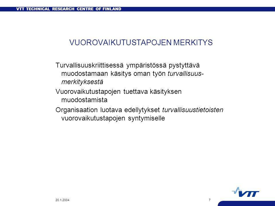 VTT TECHNICAL RESEARCH CENTRE OF FINLAND 20.1.20047 VUOROVAIKUTUSTAPOJEN MERKITYS Turvallisuuskriittisessä ympäristössä pystyttävä muodostamaan käsitys oman työn turvallisuus- merkityksestä Vuorovaikutustapojen tuettava käsityksen muodostamista Organisaation luotava edellytykset turvallisuustietoisten vuorovaikutustapojen syntymiselle