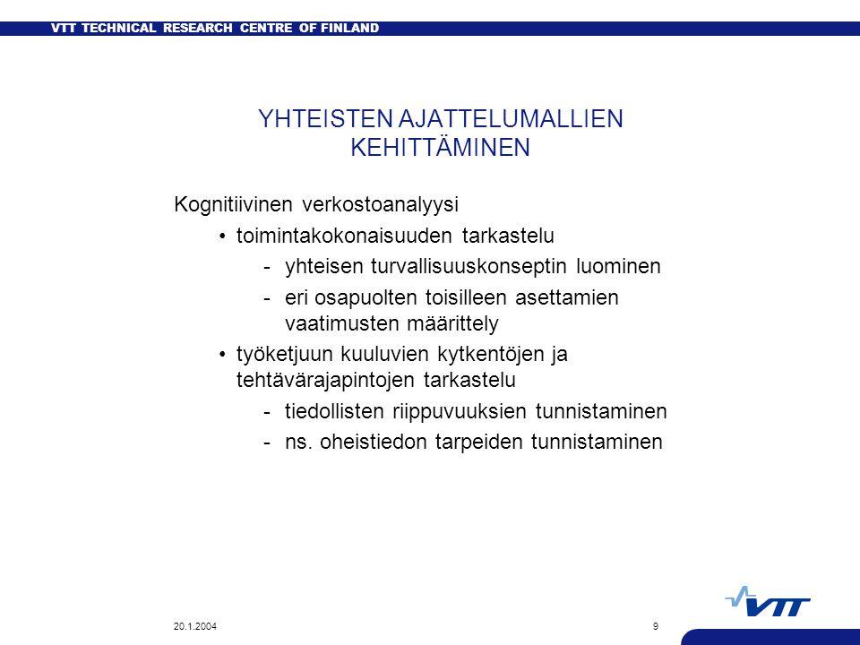 VTT TECHNICAL RESEARCH CENTRE OF FINLAND 20.1.20049 YHTEISTEN AJATTELUMALLIEN KEHITTÄMINEN Kognitiivinen verkostoanalyysi toimintakokonaisuuden tarkastelu -yhteisen turvallisuuskonseptin luominen -eri osapuolten toisilleen asettamien vaatimusten määrittely työketjuun kuuluvien kytkentöjen ja tehtävärajapintojen tarkastelu -tiedollisten riippuvuuksien tunnistaminen -ns.