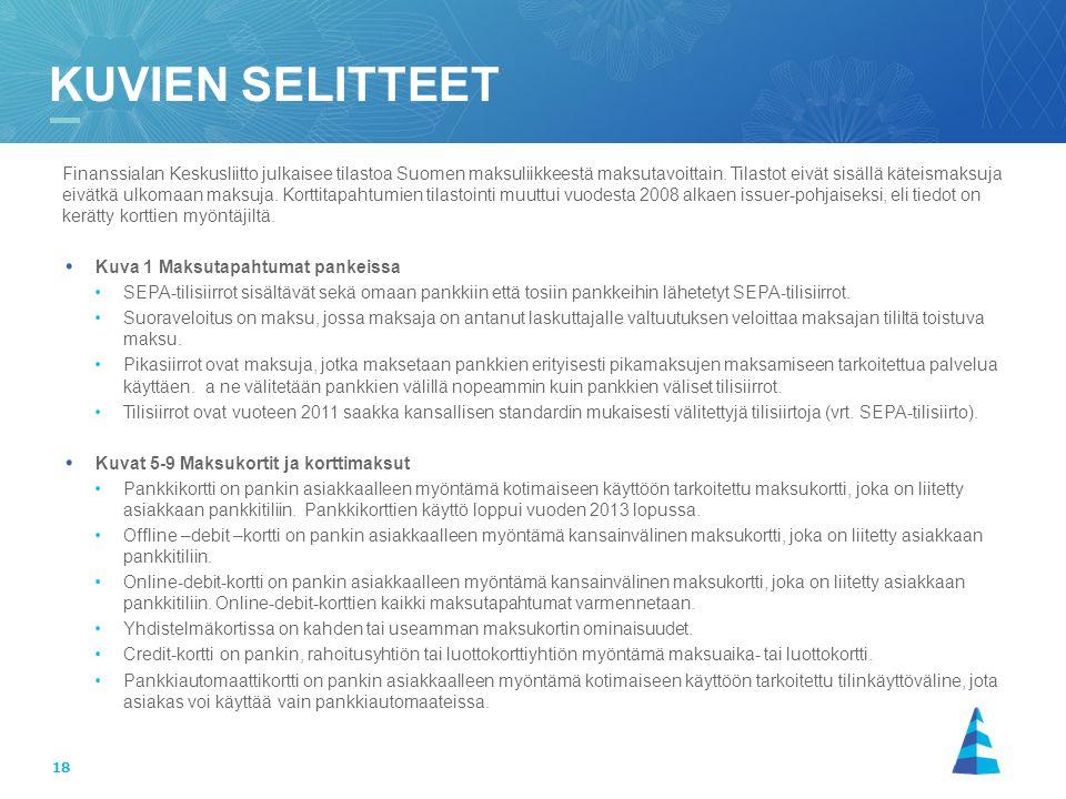 18 Finanssialan Keskusliitto julkaisee tilastoa Suomen maksuliikkeestä maksutavoittain.
