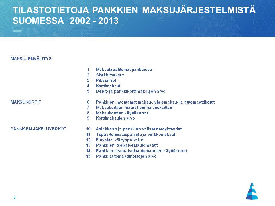 2 TILASTOTIETOJA PANKKIEN MAKSUJÄRJESTELMISTÄ SUOMESSA 2002 - 2013