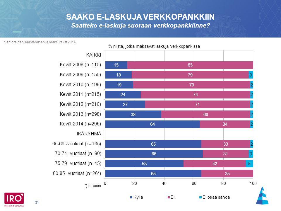 31 Senioreiden säästäminen ja maksutavat 2014 SAAKO E-LASKUJA VERKKOPANKKIIN Saatteko e-laskuja suoraan verkkopankkiinne.