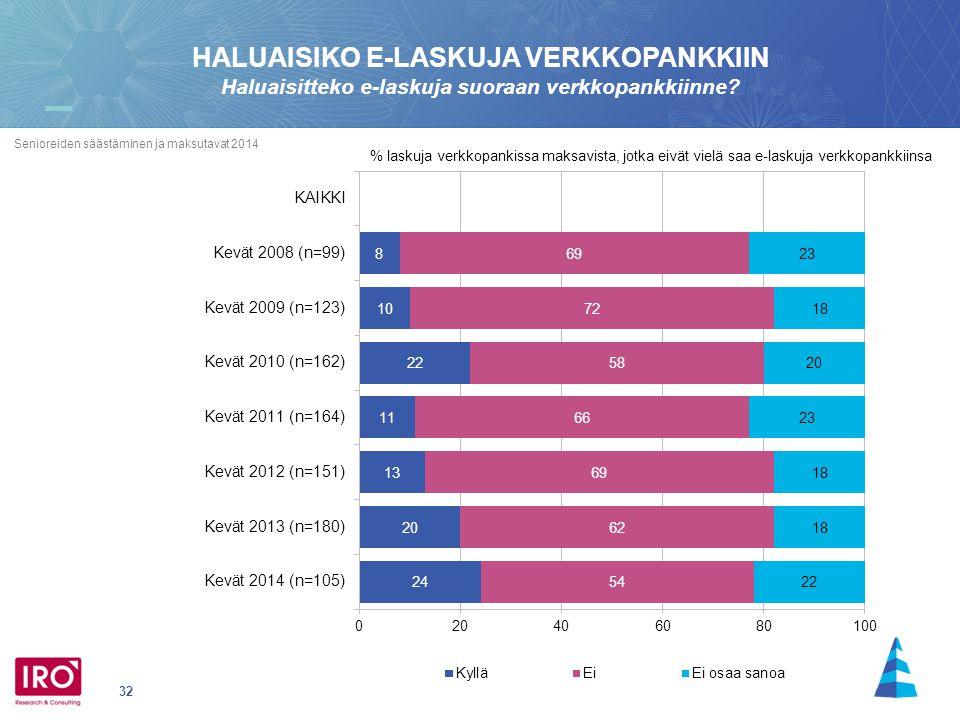32 Senioreiden säästäminen ja maksutavat 2014 HALUAISIKO E-LASKUJA VERKKOPANKKIIN Haluaisitteko e-laskuja suoraan verkkopankkiinne.
