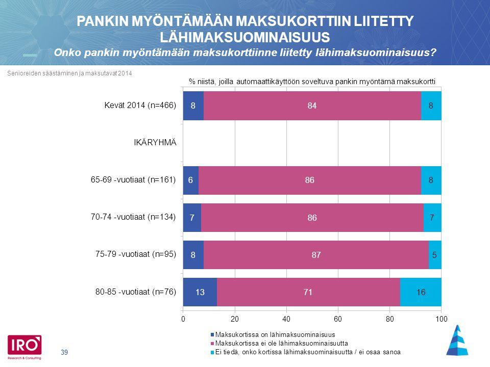 39 Senioreiden säästäminen ja maksutavat 2014 % niistä, joilla automaattikäyttöön soveltuva pankin myöntämä maksukortti PANKIN MYÖNTÄMÄÄN MAKSUKORTTIIN LIITETTY LÄHIMAKSUOMINAISUUS Onko pankin myöntämään maksukorttiinne liitetty lähimaksuominaisuus