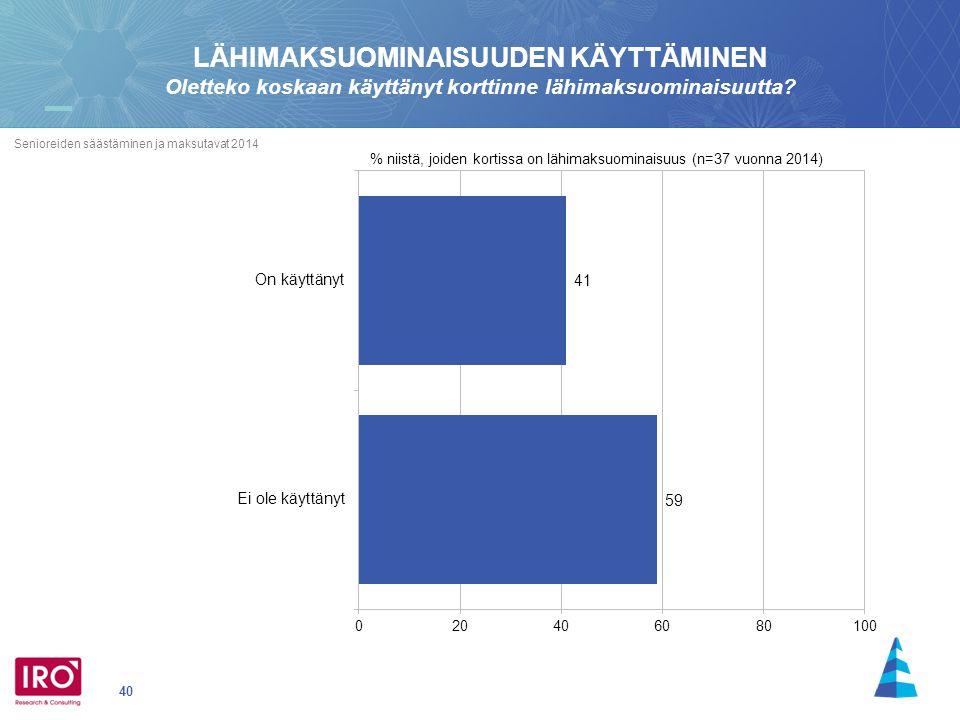 40 Senioreiden säästäminen ja maksutavat 2014 % niistä, joiden kortissa on lähimaksuominaisuus (n=37 vuonna 2014) LÄHIMAKSUOMINAISUUDEN KÄYTTÄMINEN Oletteko koskaan käyttänyt korttinne lähimaksuominaisuutta