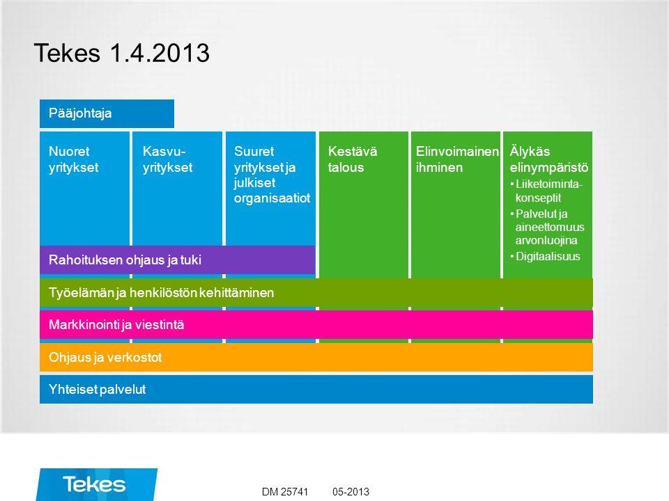 Tekes 1.4.2013 05-2013DM 25741 Kasvu- yritykset Nuoret yritykset Suuret yritykset ja julkiset organisaatiot Kestävä talous Elinvoimainen ihminen Älykäs elinympäristö Liiketoiminta- konseptit Palvelut ja aineettomuus arvonluojina Digitaalisuus Yhteiset palvelut Rahoituksen ohjaus ja tuki Markkinointi ja viestintä Ohjaus ja verkostot Pääjohtaja Työelämän ja henkilöstön kehittäminen