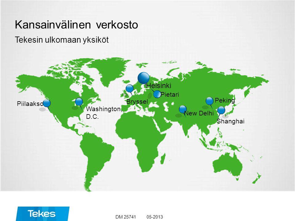 Kansainvälinen verkosto Tekesin ulkomaan yksiköt Helsinki Pietari Bryssel Peking Shanghai Piilaakso Washington, D.C.