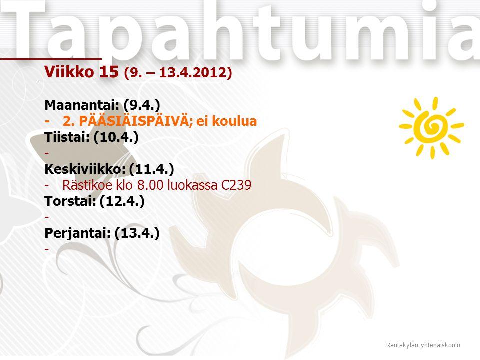 Viikko 15 (9. – 13.4.2012) Maanantai: (9.4.) -2.