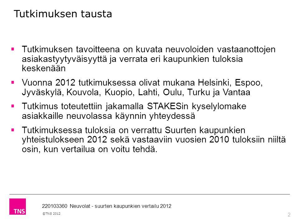 2 ©TNS 2012 220103360 Neuvolat - suurten kaupunkien vertailu 2012 Tutkimuksen tausta  Tutkimuksen tavoitteena on kuvata neuvoloiden vastaanottojen asiakastyytyväisyyttä ja verrata eri kaupunkien tuloksia keskenään  Vuonna 2012 tutkimuksessa olivat mukana Helsinki, Espoo, Jyväskylä, Kouvola, Kuopio, Lahti, Oulu, Turku ja Vantaa  Tutkimus toteutettiin jakamalla STAKESin kyselylomake asiakkaille neuvolassa käynnin yhteydessä  Tutkimuksessa tuloksia on verrattu Suurten kaupunkien yhteistulokseen 2012 sekä vastaaviin vuosien 2010 tuloksiin niiltä osin, kun vertailua on voitu tehdä.