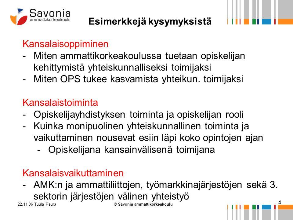 22.11.06 Tuula Peura 4 © Savonia-ammattikorkeakoulu Kansalaisoppiminen -Miten ammattikorkeakoulussa tuetaan opiskelijan kehittymistä yhteiskunnalliseksi toimijaksi -Miten OPS tukee kasvamista yhteikun.