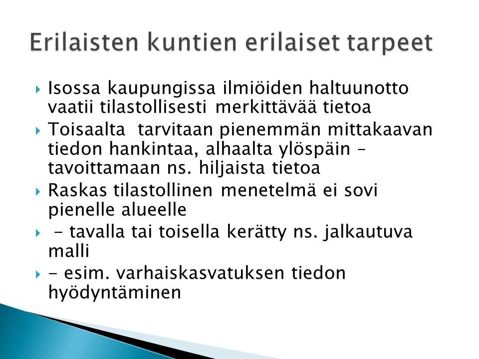  Isossa kaupungissa ilmiöiden haltuunotto vaatii tilastollisesti merkittävää tietoa  Toisaalta tarvitaan pienemmän mittakaavan tiedon hankintaa, alhaalta ylöspäin – tavoittamaan ns.