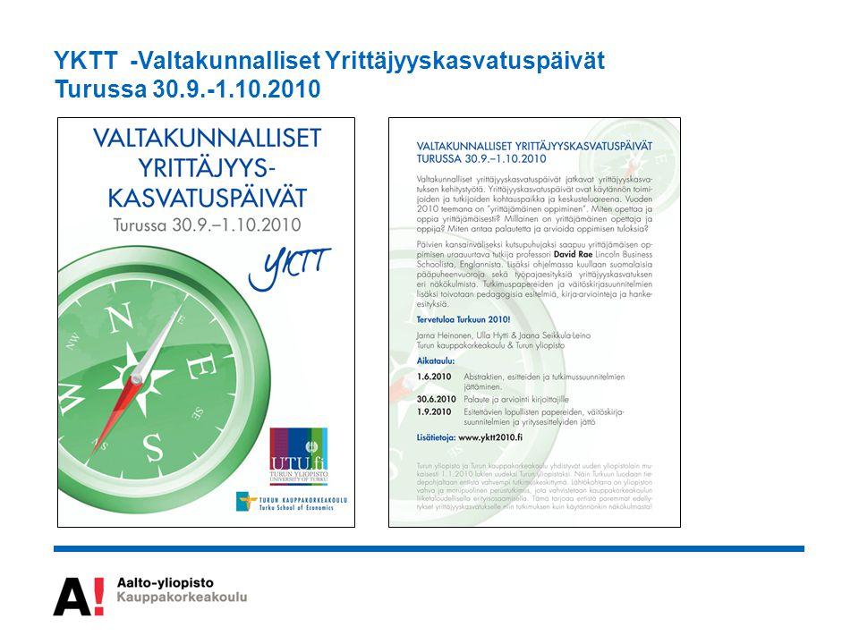 YKTT -Valtakunnalliset Yrittäjyyskasvatuspäivät Turussa 30.9.-1.10.2010
