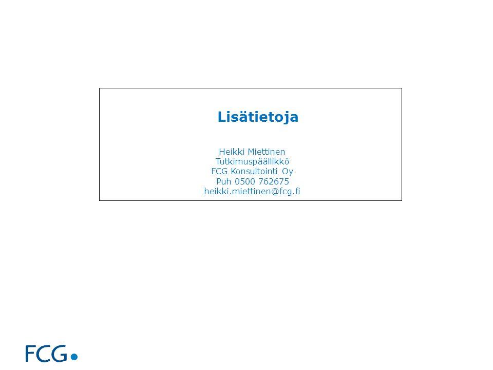 Lisätietoja Heikki Miettinen Tutkimuspäällikkö FCG Konsultointi Oy Puh 0500 762675 heikki.miettinen@fcg.fi