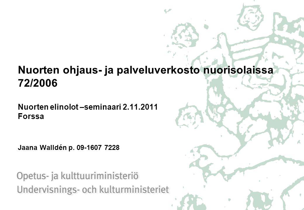 Nuorten ohjaus- ja palveluverkosto nuorisolaissa 72/2006 Nuorten elinolot –seminaari 2.11.2011 Forssa Jaana Walldén p.