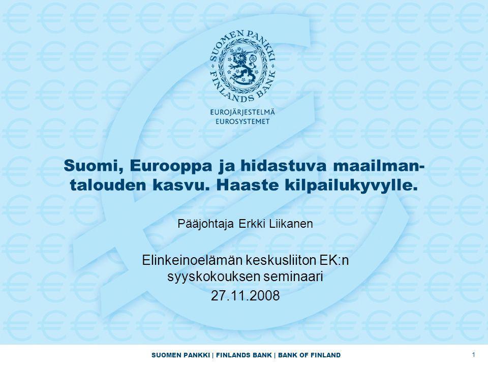 SUOMEN PANKKI | FINLANDS BANK | BANK OF FINLAND Suomi, Eurooppa ja hidastuva maailman- talouden kasvu.