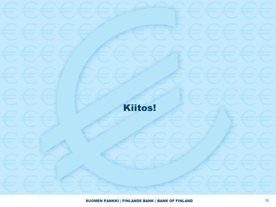 SUOMEN PANKKI | FINLANDS BANK | BANK OF FINLAND Kiitos! 16